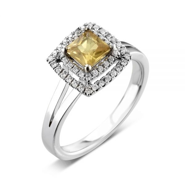 18ct White Gold 4 Claw Ring with a Princess Cut Citrine Centre