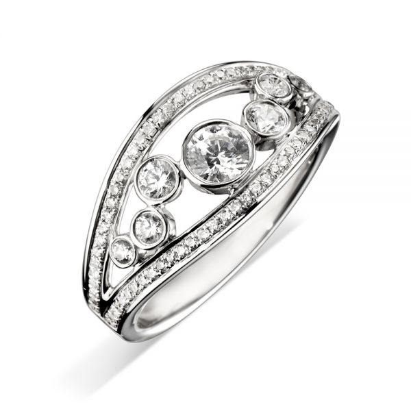 18ct White Gold Open Eternity Ring with Multi-Diamond Setting