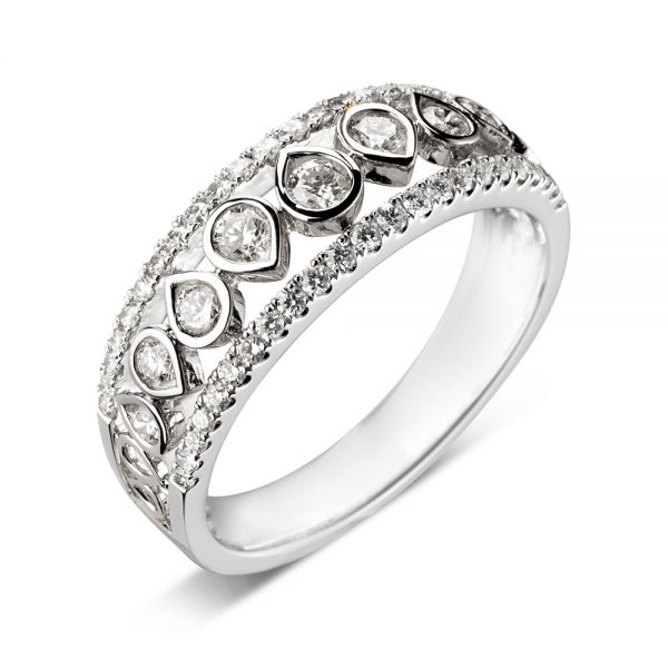 18ct White Gold Open Eternity Ring with Teardrop Shaped Diamonds