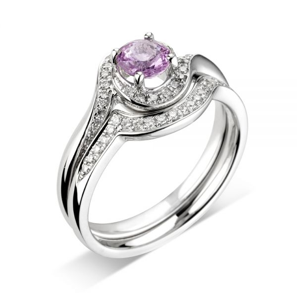 18ct White Gold 4 Claw Ring with Round Amethyst Centre Stone