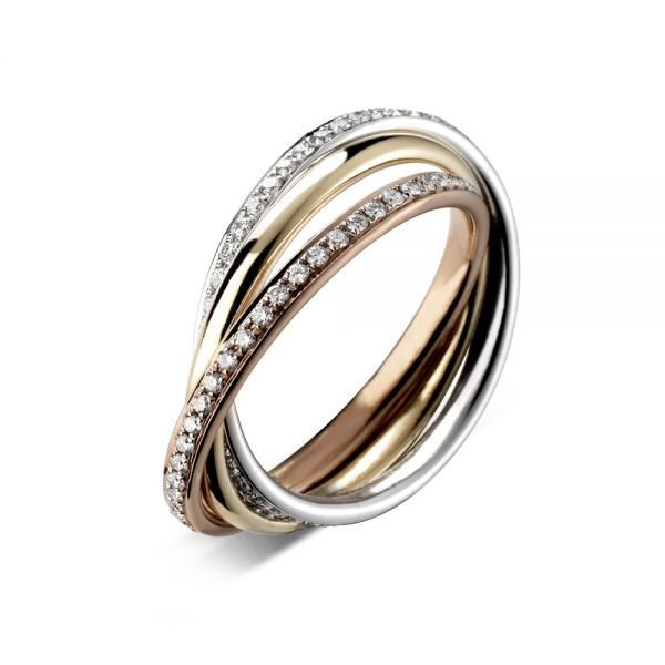 18ct Tri-colour Diamond Set Russian Wedding Band