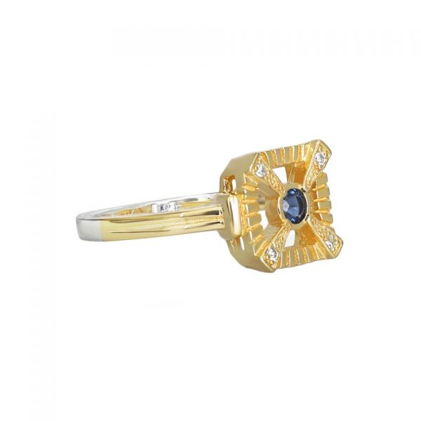 Laura Vann Eleanor Blue Gold Ring