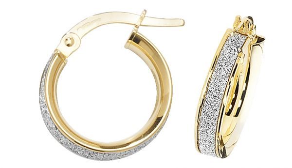 9k Yellow Gold 10mm Diamond Dust Hoop Earrings