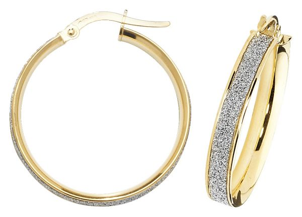9k Yellow Gold 20mm Diamond Dust Hoop Earrings