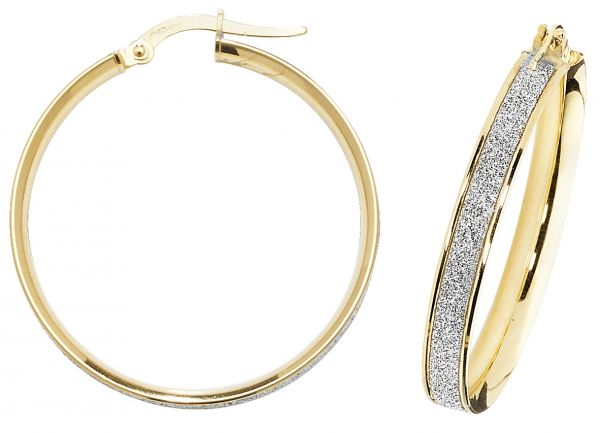 9k Yellow Gold 25mm Diamond Dust Hoop Earrings
