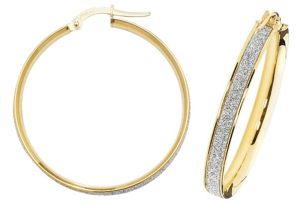 9k Yellow Gold 30mm Diamond Dust Hoop Earrings