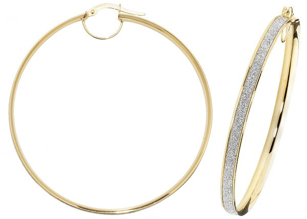 9k Yellow Gold 50mm Diamond Dust Hoop Earrings