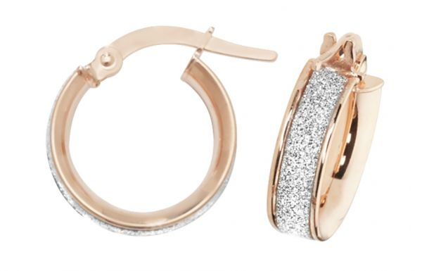 9k Rose Gold 10mm Diamond Dust Hoop Earrings