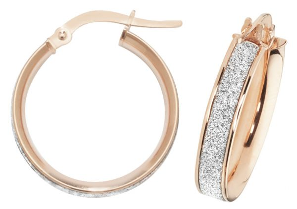 9k Rose Gold 15mm Diamond Dust Hoop Earrings