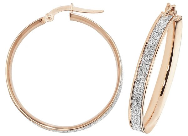 9k Rose Gold 25mm Diamond Dust Hoop Earrings