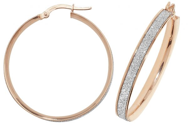 9k Rose Gold 30mm Diamond Dust Hoop Earrings