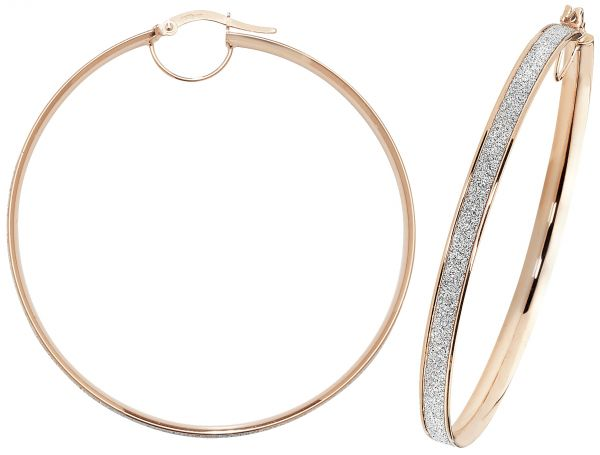 9k Rose Gold 50mm Diamond Dust Hoop Earrings