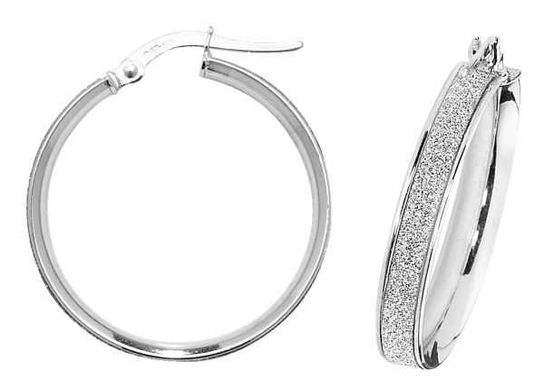 9k White Gold 20mm Diamond Dust Hoop Earrings