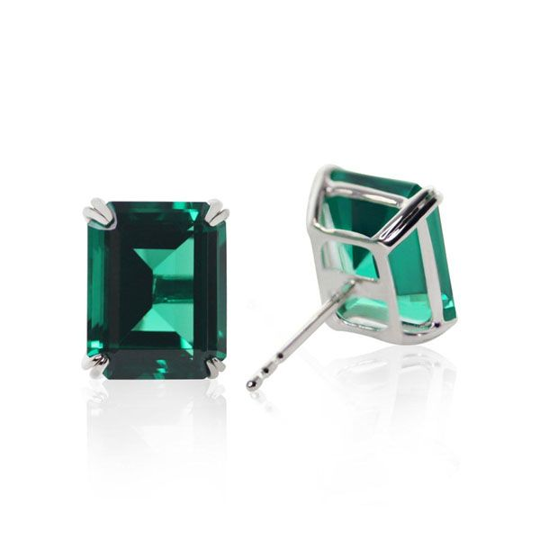CARAT* London 9k White Gold Fulton Emerald Double Prong Studs
