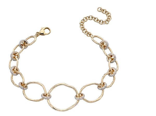 Steffans Hammered 9ct Gold And Diamond Connector Bracelet