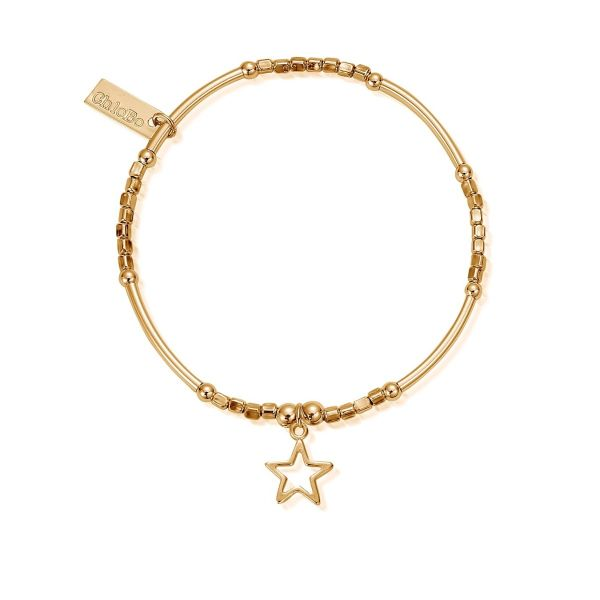 ChloBo Yellow Gold Plated Mini Noodle Cube Open Star Bracelet