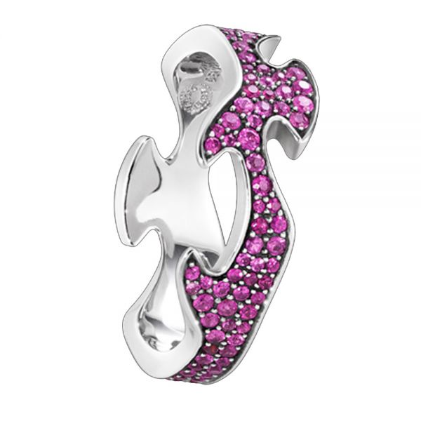Georg Jensen 18ct White Gold Fusion Centre Ring with Pink Sapphires