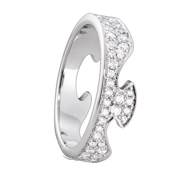 Georg Jensen 18ct White Gold Fusion End Ring with Pavé Set Diamonds
