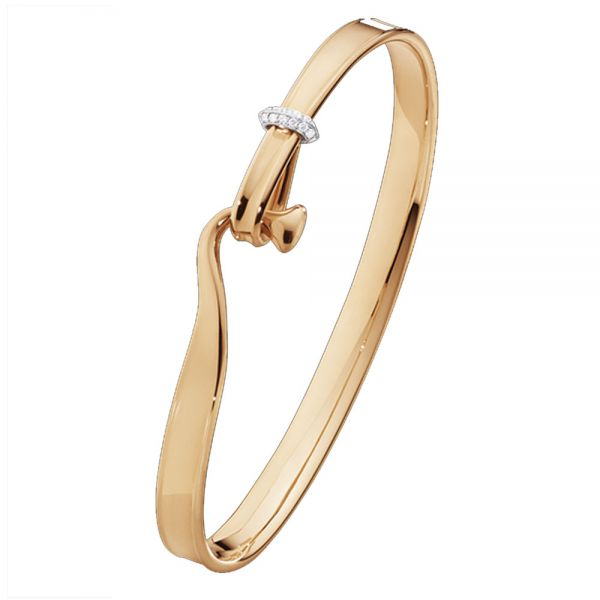 Georg Jensen 18kt Rose Gold Torun Bangle with Brilliant Cut Diamonds (3510542)
