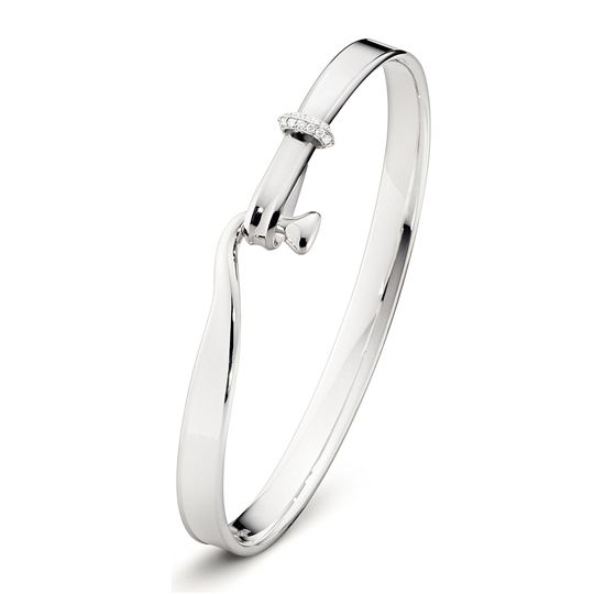 Georg Jensen White Gold & Diamond Torun Bangle
