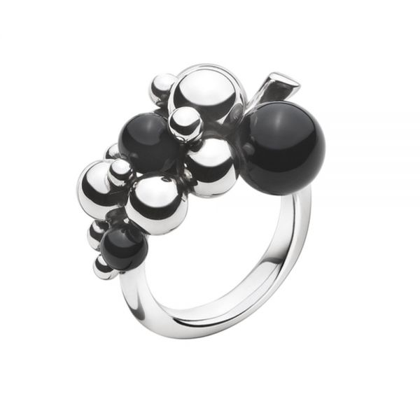 Georg Jensen Sterling Silver Moonlight Grapes Ring with Black Onyx - Small (3559060)