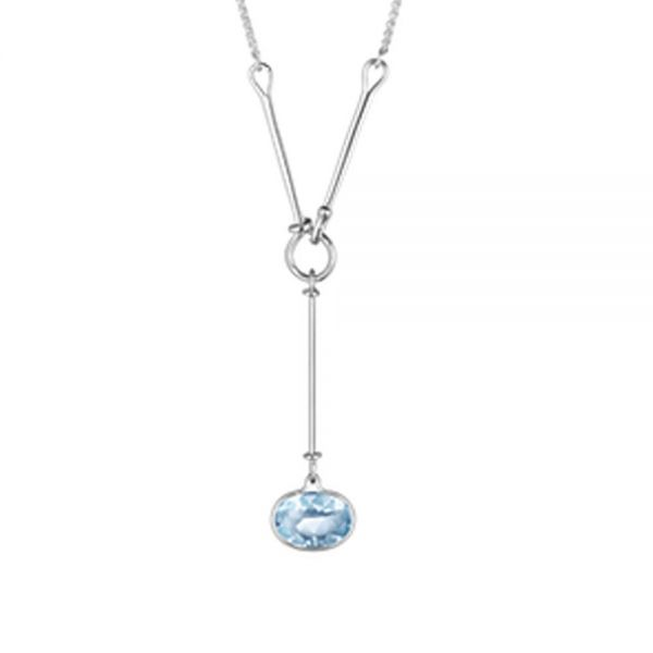 Sterling Silver Savannah Pendant with Blue Topaz (45cm)