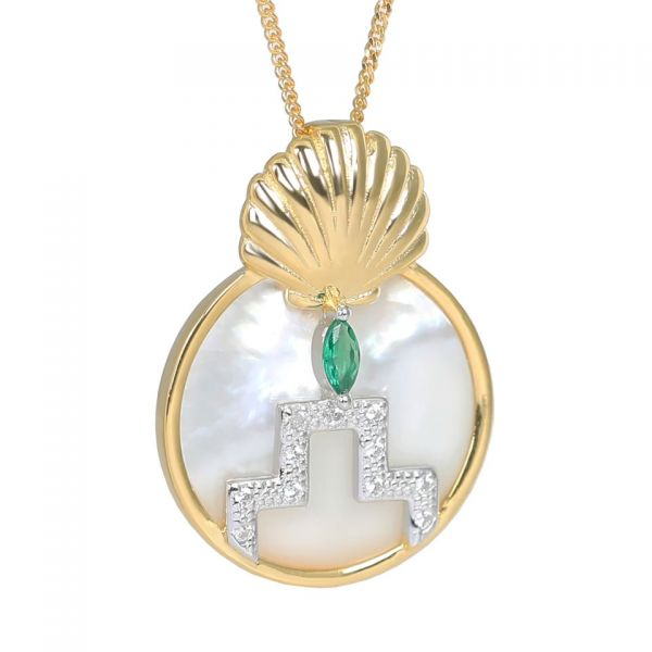 Laura Vann Gina Gold Pearl Shell Circle Pendant Necklace