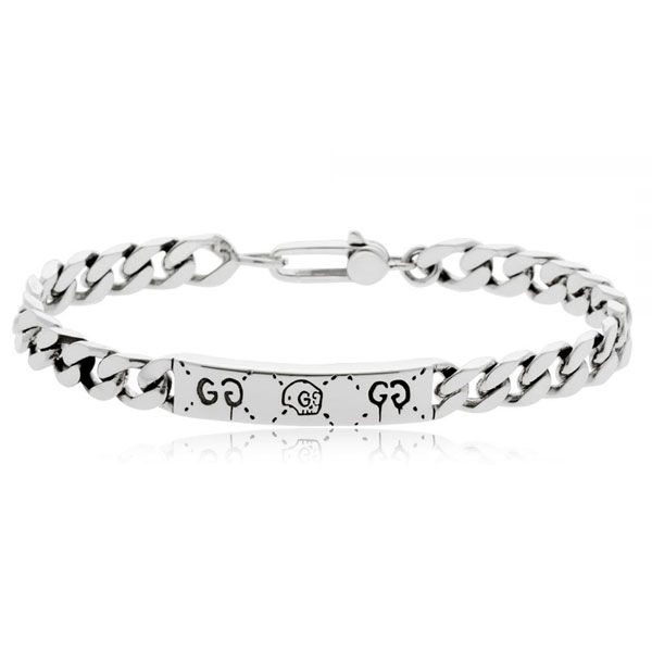 Gucci Ghost Sterling Silver Gourmette Bracelet (Various Sizes)