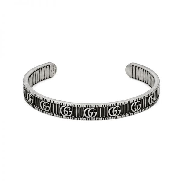 Gucci Marmont Aged Sterling Silver Double G Motif Bracelet