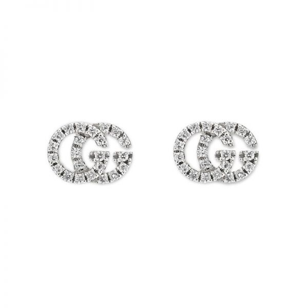 Gucci GG Running 18ct White Gold Diamond Set Earrings