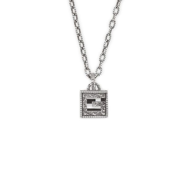 Gucci G Cube Sterling Silver Pendant Necklace
