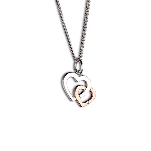 Steff Bloomsbury Rose Gold Plated Silver & Diamond Interlocking Hearts Charm