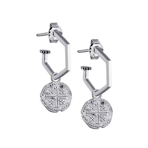 Steff Silver Hexi Hoop Earrings with Coin Charms