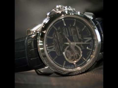 Seiko Premier Blue Dial Skeleton Automatic Strap Watch