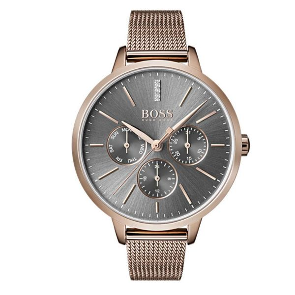 BOSS Ladies Grey Dial Gold Tone Symphony Watch