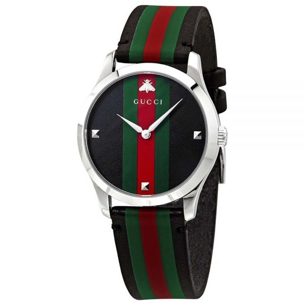 Gucci G-Timeless Black, Red, and Green Striped Leather Watch
