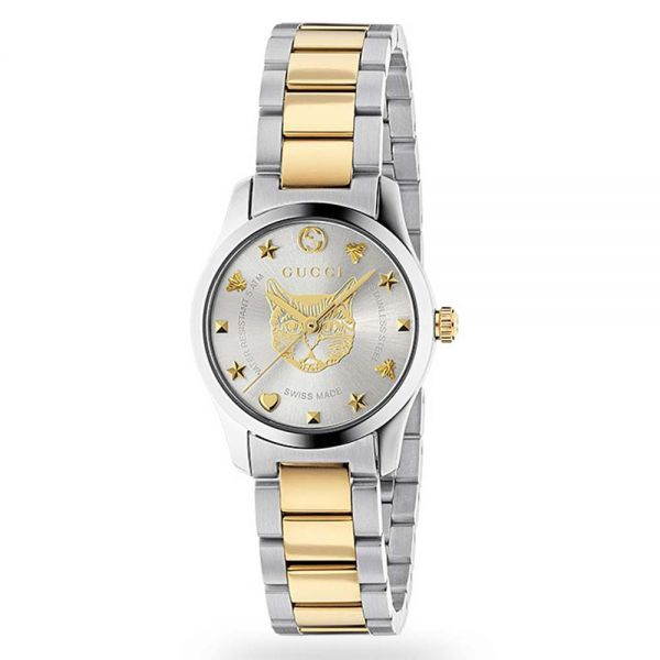 Gucci G-Timeless Ladies' Stainless Steel and Yellow Gold Cat Motif Watch