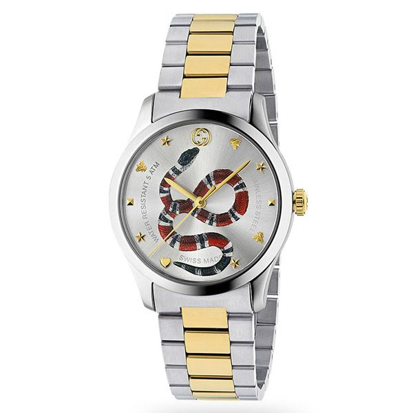 Gucci G-Timeless Stainless Steel Snake Motif Watch