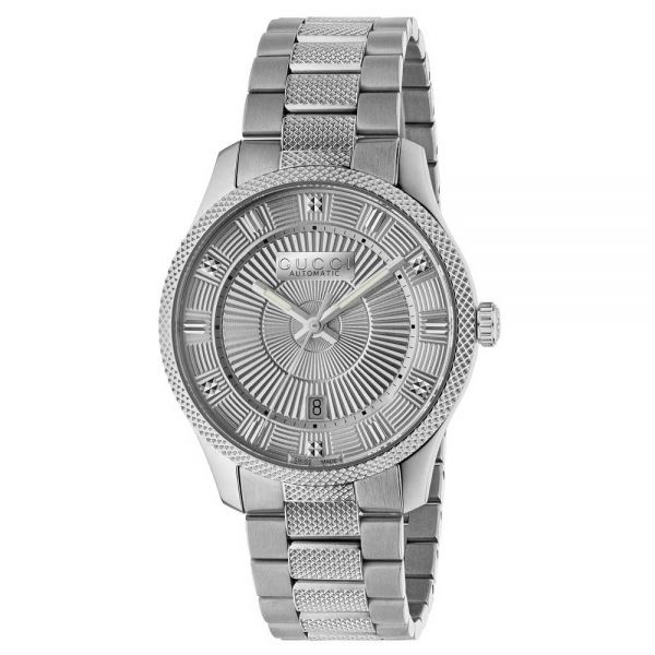 Gucci Silver Guilloché Dial Automatic Large Slim Watch