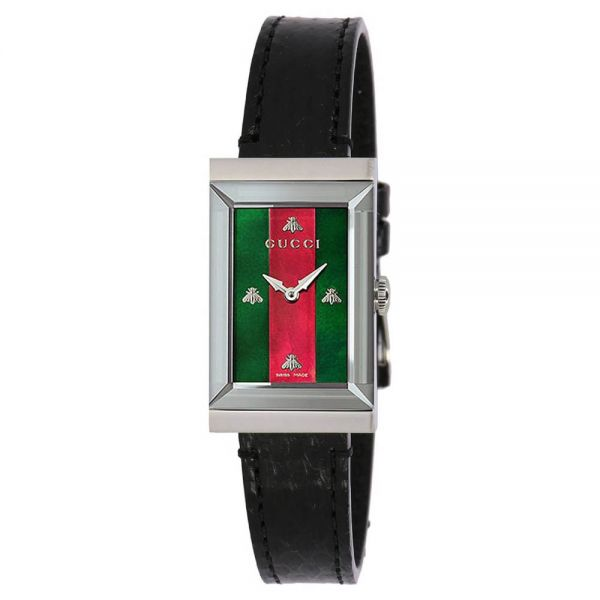 Gucci Ladies G-Frame Black Leather Watch