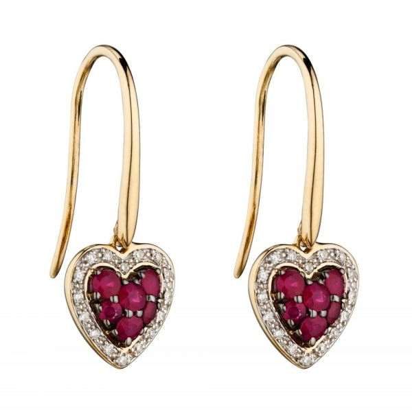 Steffans 9ct Yellow Gold, Ruby & Diamond Heart Earrings