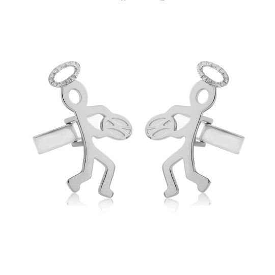 Limited Edition Sterling Silver & Diamond Northampton Saints Rugby Emblem Cufflinks UCU00078A00