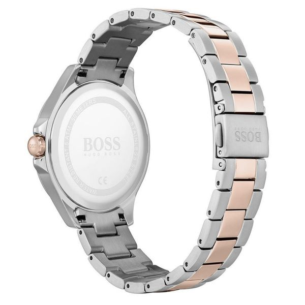 BOSS Ladies Black Mother Of Pearl Dial Two Tone Victoria Watch