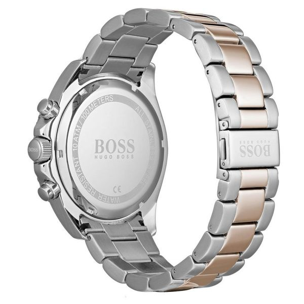 BOSS Men's Black Dial Two Tone Chronograph Ocean Edition Watch