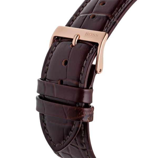 BOSS Men's Brown Leather Master Watch