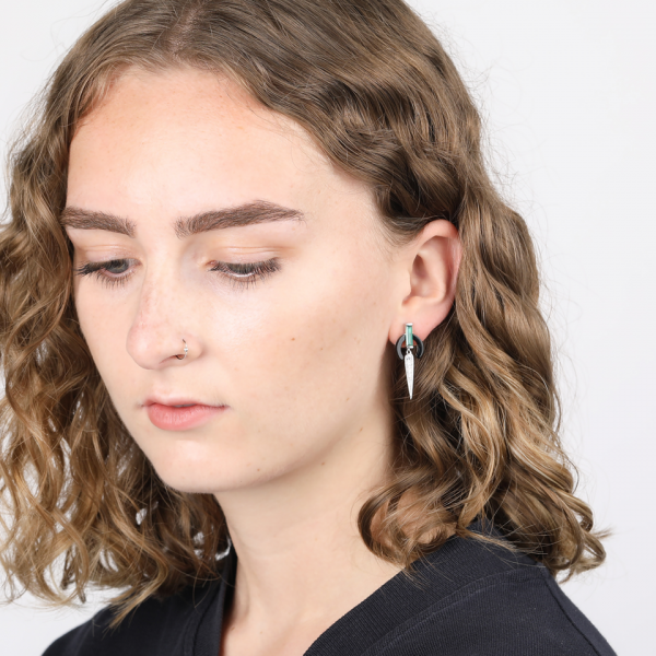 Laura Vann Mathilde Black Agate Silver Earrings