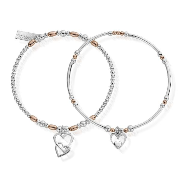 ChloBo Rose Gold & Sterling Silver Double Devotion Bracelet Set