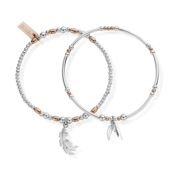 ChloBo Rose Gold & Sterling Silver Strength & Courage Bracelet Set