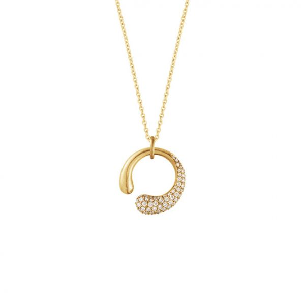 Georg Jensen MERCY Small Pendant 1636A Yellow Gold with Pave Diamond 0.40ct