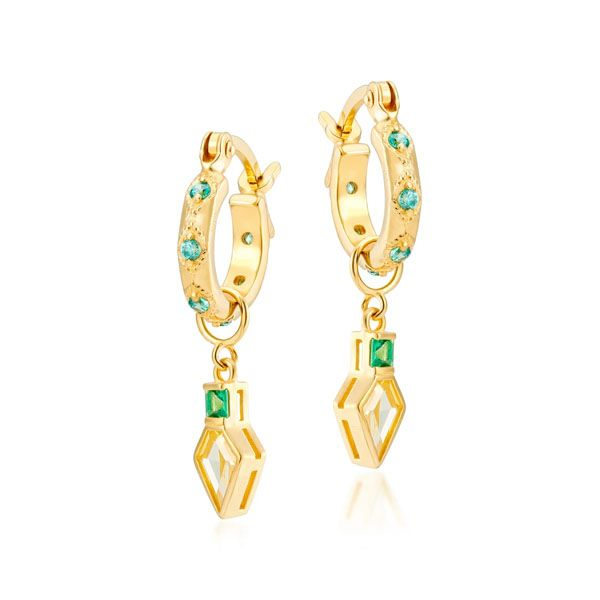 Laura Vann Lena Gold Hoops with Mint Emerald Shield Charm